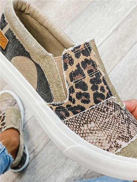 Leopard Snake Skin Camouflage Splicing Flat Canvas Sneakers