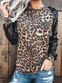 Leopard Stitching Sequined Long Sleeve T-shirt