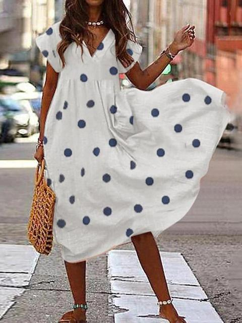 Loose Polka Dot V-neck Midi Dress