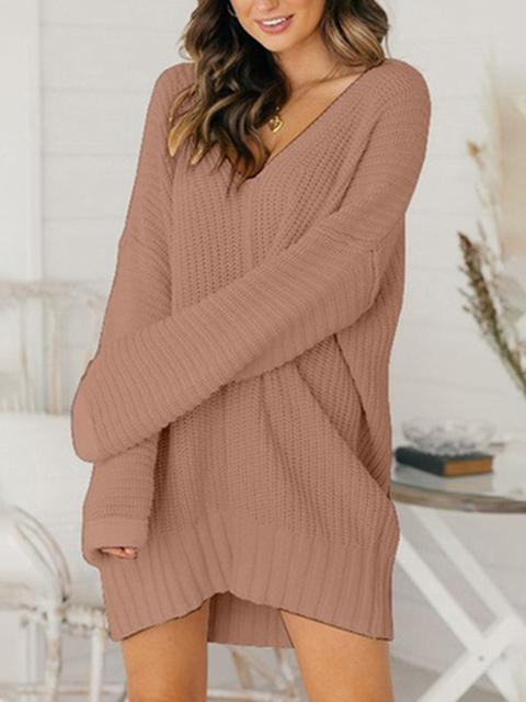 Loose V-neck Mid-length Sweater Dress
