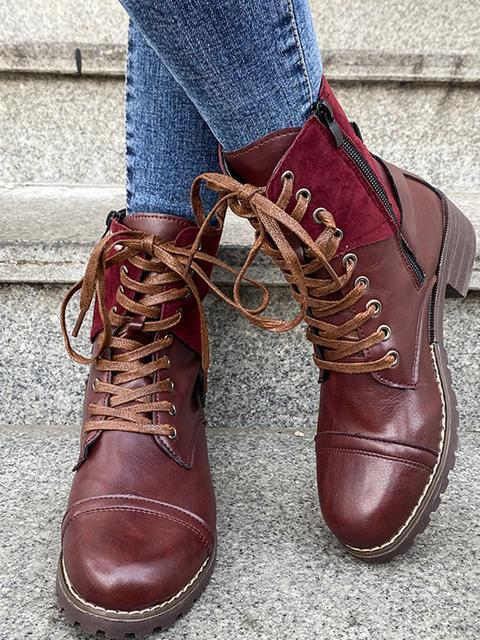 Low Heeled Lace-up Round Toe Boots