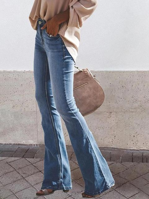 Washed Mid-waist Flared Jeans