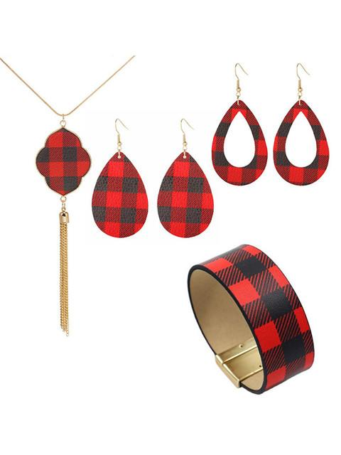 Plaid Earrings Bracelet And Necklace Set