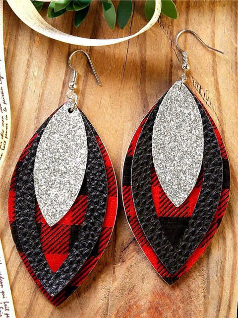 Plaid Sequin Leather Earrings