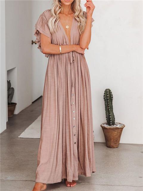 Pocketed Button Down Ruffle Maxi Dress