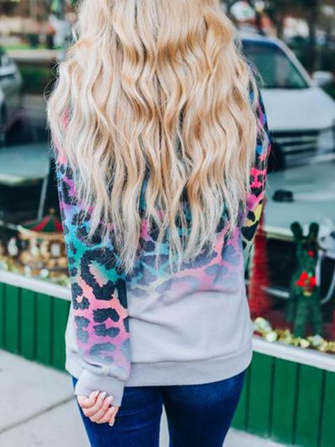 Rainbow Leopard Print Long Sleeve Top