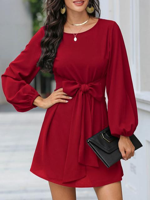 Round Neck Casual Solid Dress