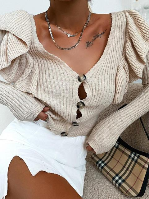 Ruffled V-neck Long Sleeve Sweater Cardigan