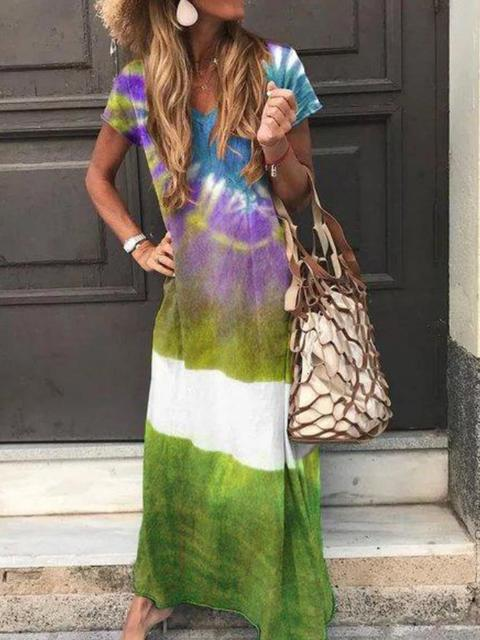 Tie-dye Printed Short Sleeve Maxi Dress