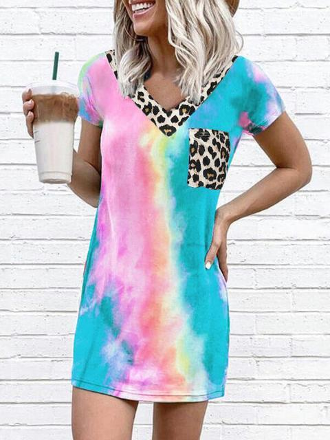 Tie Dye Leopard Stitching V-neck Print Dress