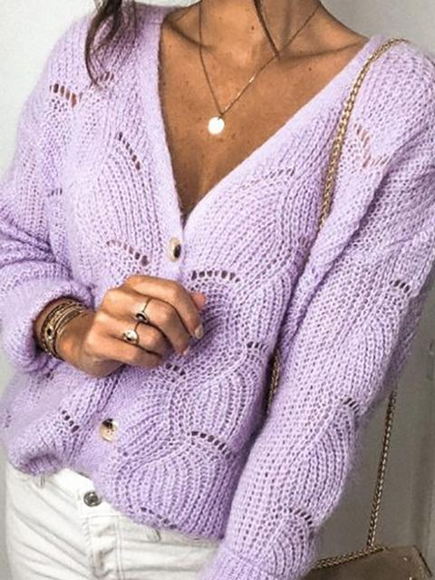Solid Color Hollow Knit Sweater Coat