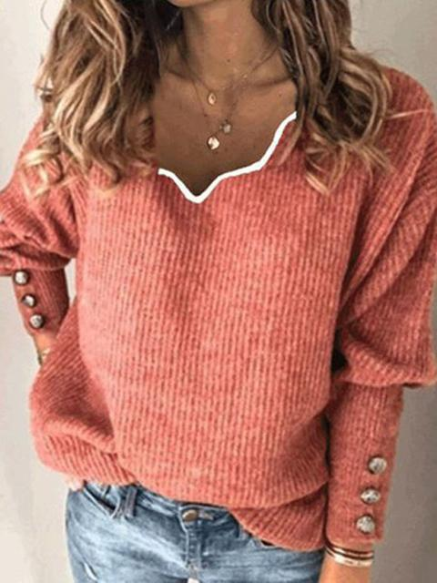 Solid Color Knitted V-neck Loose Sweater