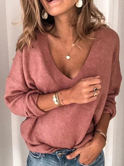 Solid Color Loose V-neck Knit Sweater