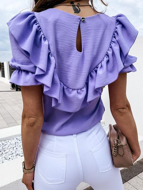 Solid Color Puff Sleeve Ruffled Blouse Top