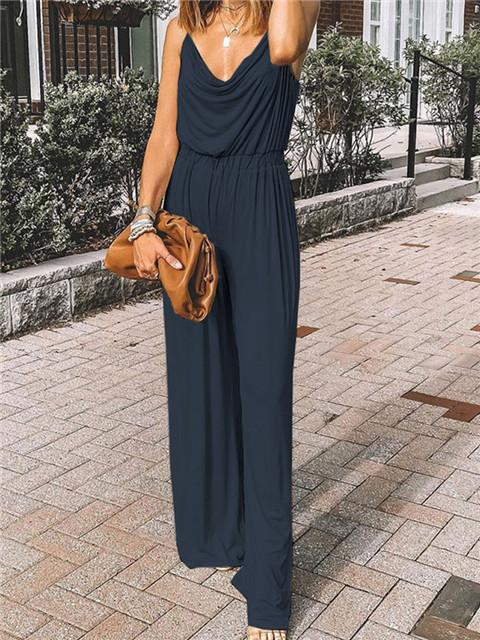 Solid Color Suspender Drawstring Loose Jumpsuit