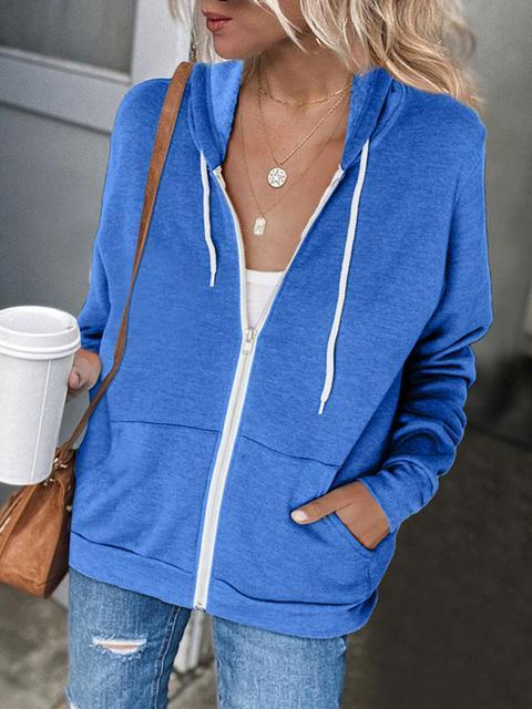 Solid Color Zip-Up Hoodie Sweatshirt Coat