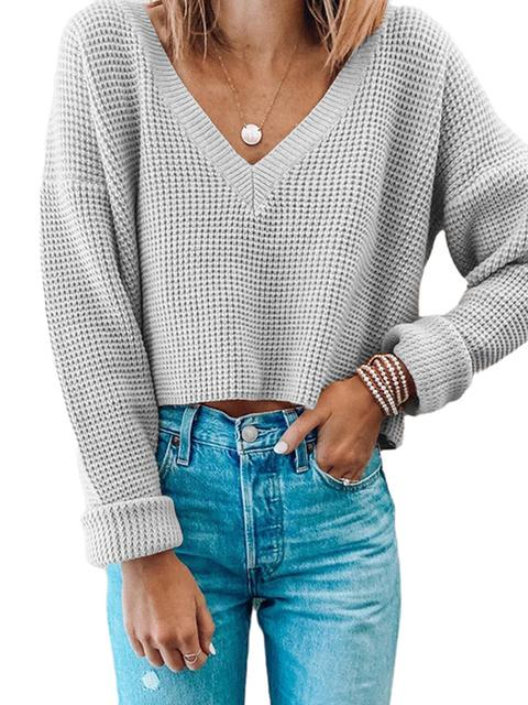 Solid Colored V-neck Pullover Short Sweater Jumper