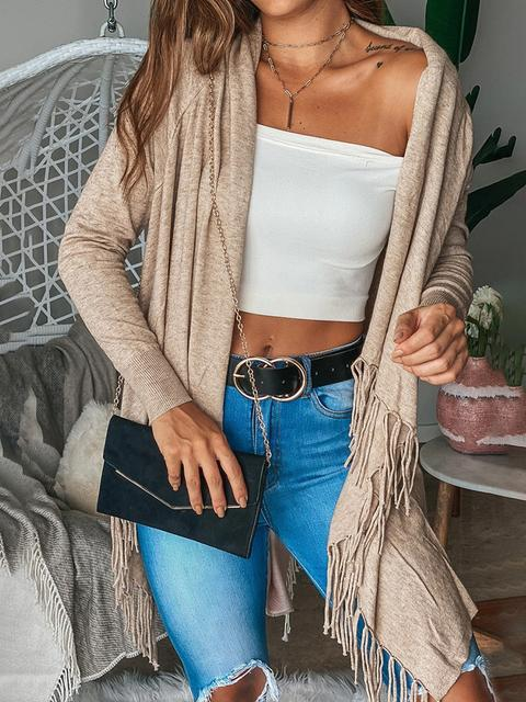 Solid Loose Knit Sweater Tassel Cardigan