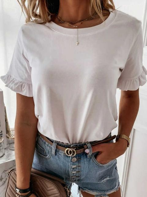 Solid Ruffled Sleeve Round Neck T-shirt