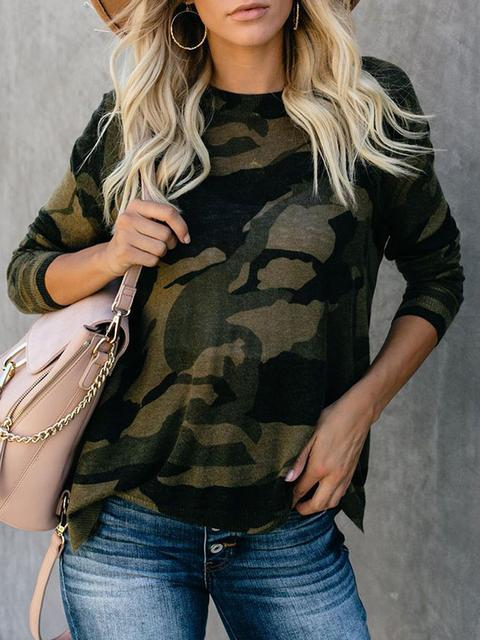 Striped Leopard Camo Pattern Long Sleeved Top