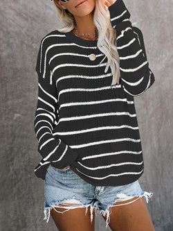 Striped Round Neck Loose Lightweight Pullover