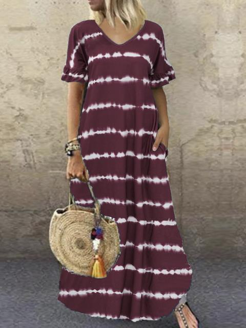 Striped V Neck Short Sleeves Maxi Dress