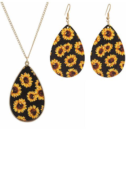 Sunflower Earrings Bracelet And Necklace Set