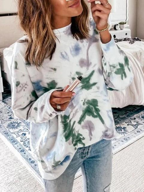Tie-Dye Long Sleeve Round Neck Top
