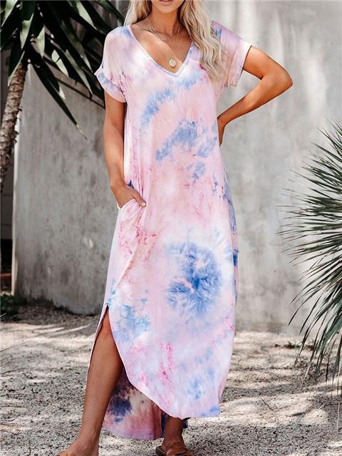 Tie-dye Printed Hem Slit Maxi Dress