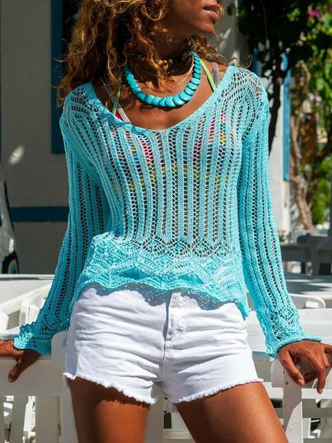 V-neck Hollow Out Knitted Tunic Top