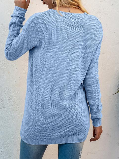 V-neck Twist Stitching Knitted Sweater
