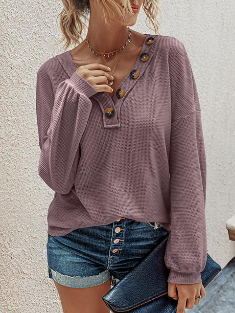 Waffle Lantern Sleeve V-neck Button Top
