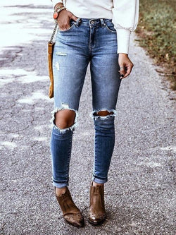 Washed Ripped Denim Skinny Jeans