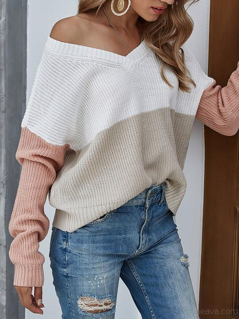 Contrast Color V-neck Knitted Pullover