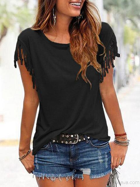 Short Sleeve Tassel Casual T-shirt