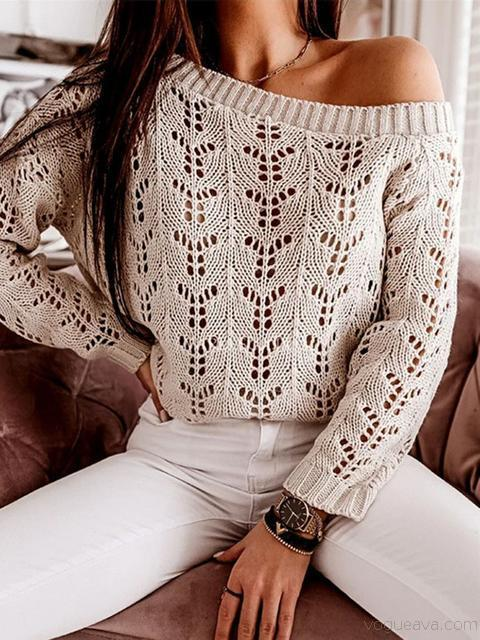 Hollow Solid Round Neck Sweater
