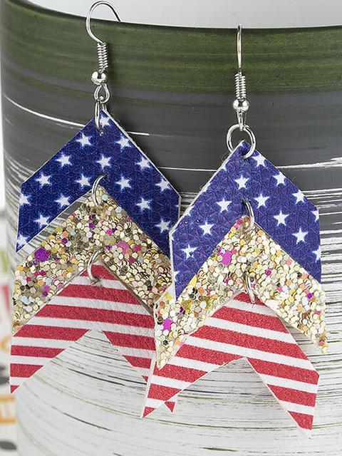 American Flag Star Sequined Splicing Earrings