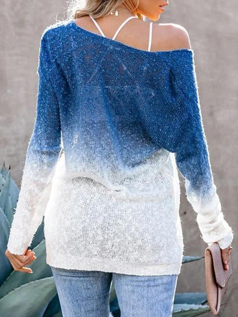 Loose Gradient Print V Neck Sweater