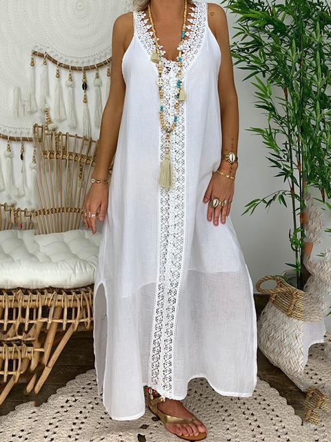 Solid Stitching Lace Hem Split Maxi Dress