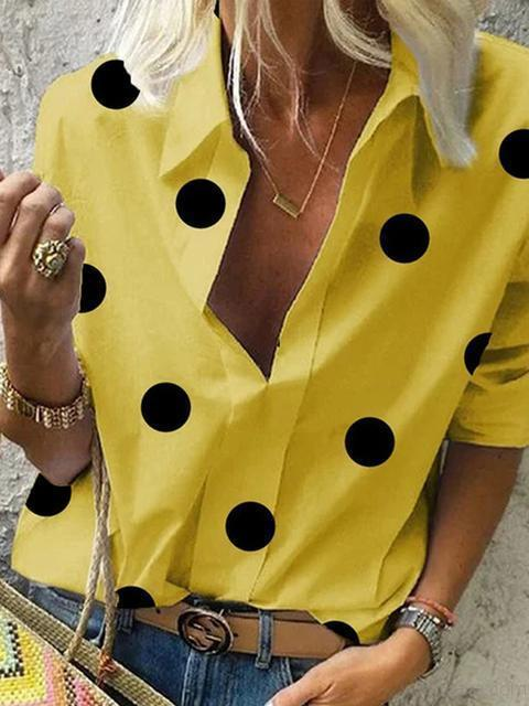 Polka Dot Printed Long Sleeve Shirt