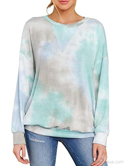 Tie-dye Long Sleeve Casual  Sweater