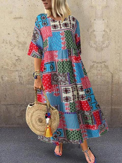 Printed Short Sleeve Maxi Dress