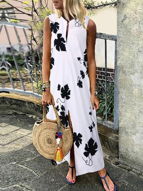 Baroque Print Split Hem Long Dress