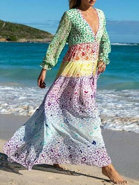 Bohemia Beach V-neck Maxi Dress
