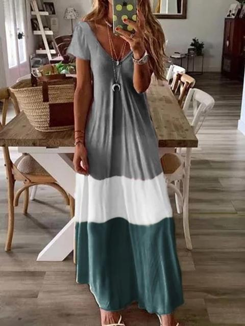 Bohemian Color Block V-neck Maxi Dress