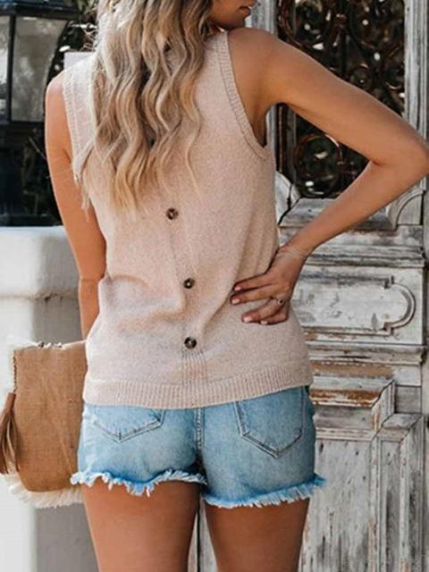 Casual Sleeveless Slim Tops