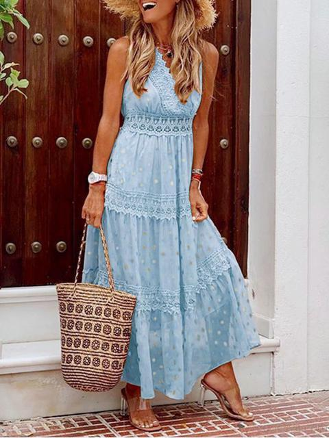 Deep V Sleeveless Chiffon Maxi Dress