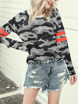 Camo Leopard Print Long Sleeve T-shirt