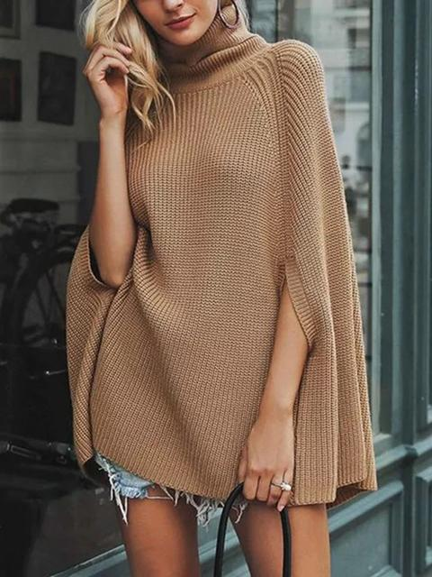 Cape Shawl Long Sleeve Sweater