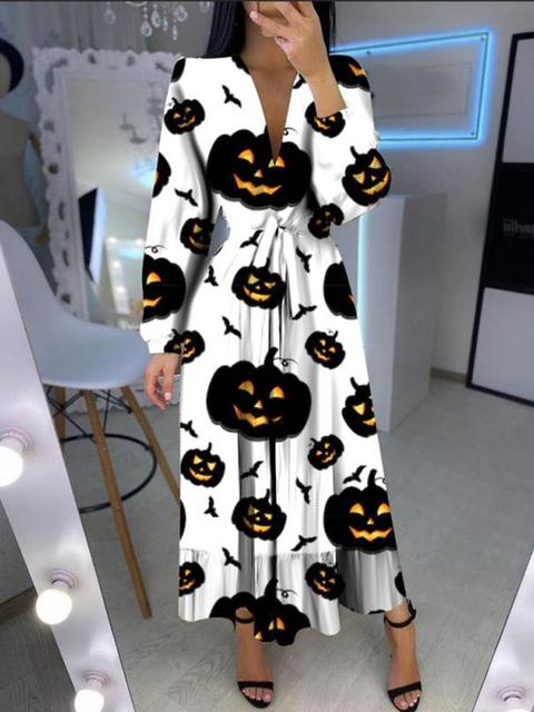 Halloween Casual V Neck Long Dress